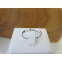 Ring ~ Handgemaakte 14 karaats Witgouden Ring met 2 Diamanten