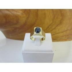 Ring ~ Gouden 14 karaats Heren Ring met Saffier