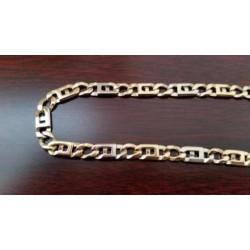 """Armband ~ BERNARDO Gouden bicolor (wit- en geelgouden) 14 karaats Rechthoekige """"platte koffiebonen"""" schakel Armband beschikbaar tot en met 21cm"""