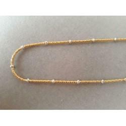 Ketting ~ Gouden 14 karaats Bicolor (Wit- & Geelgoud) Popcorn Design Collier (Ketting) Lengte 45cm