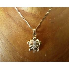 Hanger ~ Gouden 18 karaats 3D Schildpad Hanger met Diamant