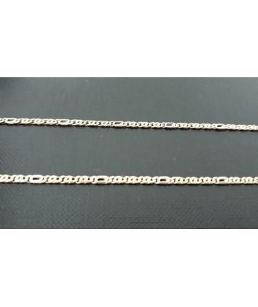 """Ketting ~ Geel- en witgouden 14 karaats """"Tijgeroog"""" schakel armband 18cm"""