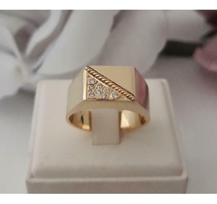 Ring ~ BRADLEY Gouden 14 karaats Heren Ring met Diamant