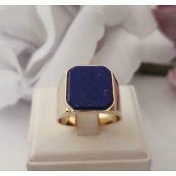Ring ~ Gouden Heren Zegel Ring met Lapis Lazuli
