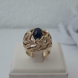 Ring ~ MERCIER Gouden 14 karaats ring met Saffier en diamant