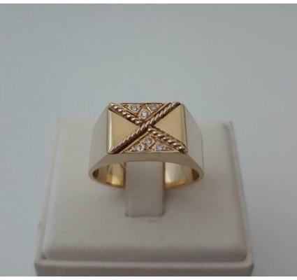 Ring ~ LEO JAMAICA Gouden 14 karaats heren ring met Diamant