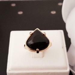Ring ~ ZARA Gouden 14 karaats Ring met Onyx