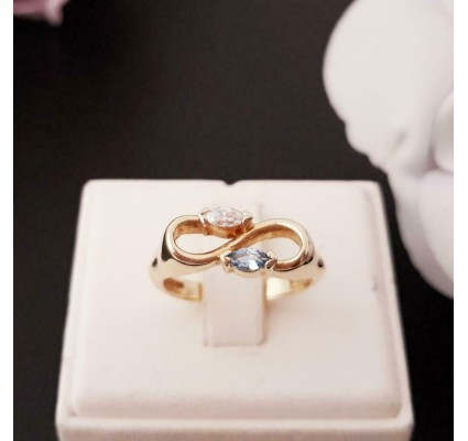 Ring ~ ETERNITY Gouden 14 karaats Ring met Topaas en Zirconia