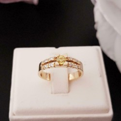 Ring ~ CATHY Gouden Ring met Saffier en Diamanten