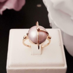 Ring ~ ROSANNE Roodgouden 14 karaats Ring met Parel