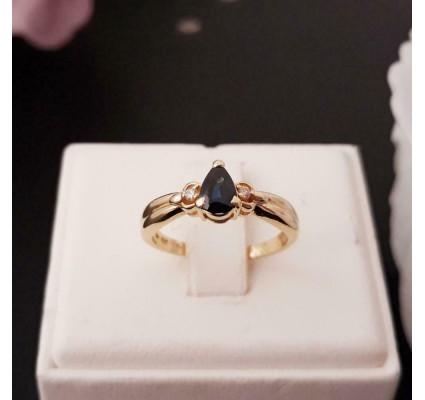 Ring ~ SYLVIE Gouden 18 karaats Ring met Saffier en Diamanten