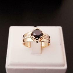 Ring ~ BROOKLYN Gouden 14 karaats Ring met Zwarte Diamant