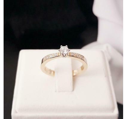Ring ~ Gouden 14 karaats Rijring Soliter met 7 Diamanten
