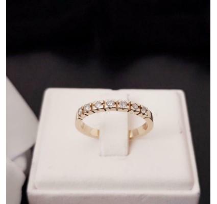Ring ~ Gouden 14 karaats Rijring met 7 Diamanten