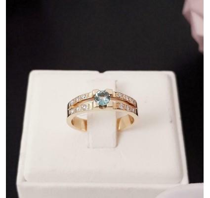 Ring ~ Gouden 14 karaats Ring met Aquamarijn en Diamanten