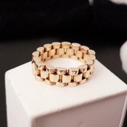 Ring ~ Gouden 14 karaats gladde schakel 'Rolex' Ring