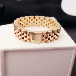 Ring ~ Gouden 14 karaats matte/gladde schakel 'Rolex' ring