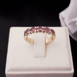 Ring ~ Gouden 14 karaats Ring met Roze Saffier edelstenen