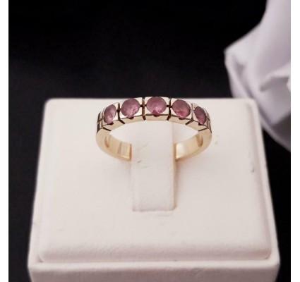 Ring ~ Gouden 14 karaats Rijring met 5 Roze Saffier edelstenen