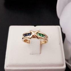 Ring ~ Gouden 14 karaats Ring met Saffier en Smaragd