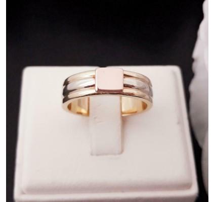 Ring ~ Gouden 18 karaats Tricolor (Wit-, Geel- & Roodgoud) Graveerplaat Ring