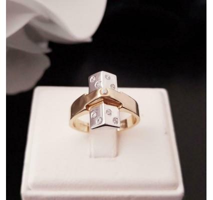 Ring ~ Gouden 14 karaats Bicolor (wit- & geelgouden) Design Ring met Zirconia