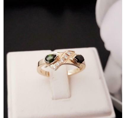 Ring ~ Gouden 14 karaats Ring met Toermalijn en Diamanten