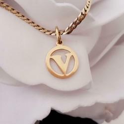 Hanger ~ Gouden 14 karaats Letter V met ronde rand hanger
