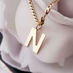 Hanger ~ Gouden 14 karaats Grote letter N Hanger