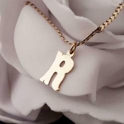 Hanger ~ Gouden 14 karaats grote letter R Hanger