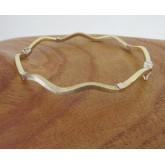 Armband ~ ARIANA Gouden Wit & geelgouden Matt en Gladde Golvend Slavenarmband