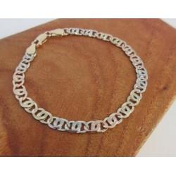 """Armband ~ ADRIAN Gouden 14 karaats 3 kleurige (wit-, geel- & roodgouden) platte """"Tijgeroog"""" schakel Armband beschikbaar tot en met 20cm"""
