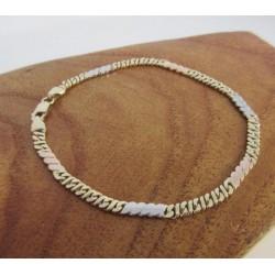 Armband ~ AMERIGO Gouden 14 karaats tricolor (wit- geel & Roodgouden) Armband beschikbaar tot en met 20cm