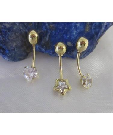 Piercing ~ Gouden 18 krt Navel Piercing Hart of Rond met Zirconia
