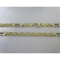 Ketting ~ Gouden Bicolor (wit- & geelgouden) 14 karaats Platte Koningsketting (beschikbaar tot en met 55 cm)