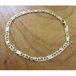 """Armband ~ BRUNO Gouden """"platte koffiebonen Tijgeroog"""" schakel Armband beschikbaar tot en met de lengte 19cm"""