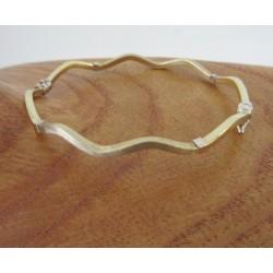 Armband ~ BEATRICE Gouden Wit & geelgouden Matt en Gladde Golvend Slavenarmband