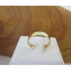 Ring ~ Gouden 14 karaats klassieke gladde Ring met Diamant