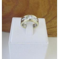 Ring ~ Gouden Brede Bicolor (Wit- en geelgouden) Ring met zirconia