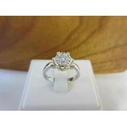 Ring ~ Gouden 18 karaats Wit-geelgouden Ring met Diamant