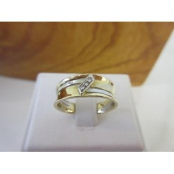 Ring ~ Gouden 14 karaats Bicolor (wit- & geelgouden) Ring met diamant (0.03 Crt VS)