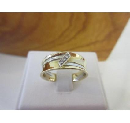 Ring ~ Gouden 14 karaats Bicolor (wit- & geelgouden) Ring met diamant (0.03 Crt VS)