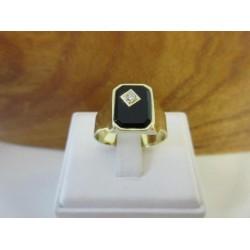 Ring ~ Gouden Heren Ring met Onyx & Diamant