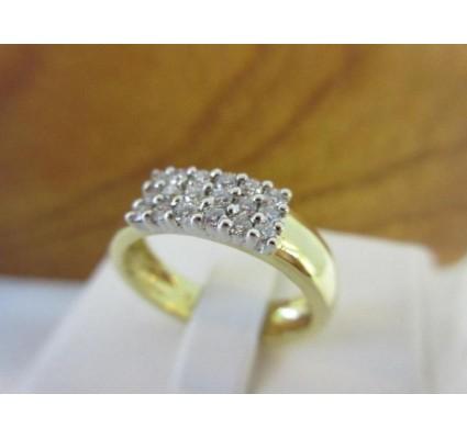 Ring ~ Gouden 18 karaats Rijring met 18 Diamanten