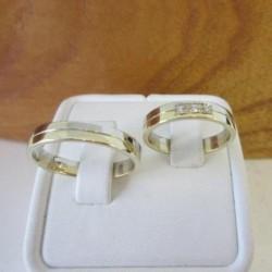 Trouwringen ~ UGO Gouden 14 karaats Bicolor trouwringen met Diamant