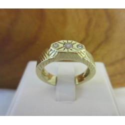 Ring ~ Gouden 14 karaats Heren Ring met diamant (0.14 Crt VS)
