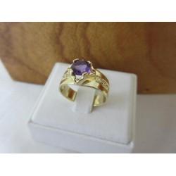 Ring ~ SOPHIA Gouden handgemaakte Ring met Amethist en Diamanten