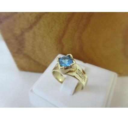 Ring ~ Gouden handgemaakte Ring met Topaas & Diamanten