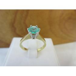 Ring ~ CHLOE Gouden Handgemaakte 18 karaats Bicolor (wit- & geelgouden) Ring met Smaragd