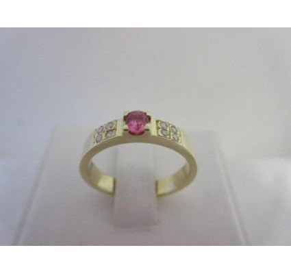 Ring ~ SUSANA Handgemaakte 14 karaats Ring met Roze Saffier en Diamant